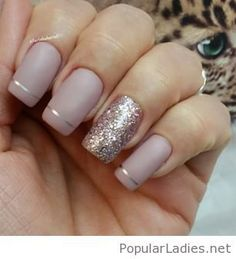beige-matte-nails-design-with-glitter-and-more