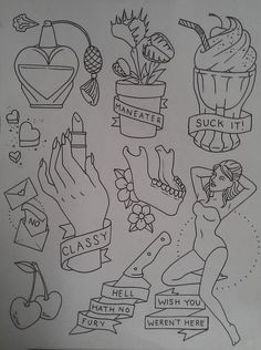 """lalalafrickyou: """" the-tattooed-lady: """" Been working on this sassy little flash sheet today. Come get it tattooed! """" I NEED THE VENUS FLY TRAP ON MEEEEEEE """""""