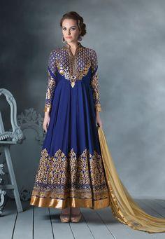 Buy Blue Faux Georgette Abaya Style Churidar kameez online, work: Embroidered, color: Blue, usage: Party, category: Salwar Kameez, fabric: Georgette, price: $118.55, item code: KDS725, gender: women, brand: Utsav