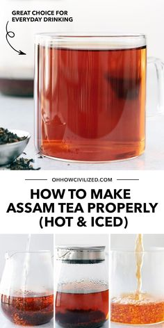 Assam Tea, or better known as Black Tea, is one widely consumed beverage around the world. Hot or cold, it's a great soothing choice for everyday drink. Learn how to make your own from scratch the proper way - click for my recipe! Hot Tea Recipes, Drink Recipes, How To Make Breakfast, How To Make Tea, Homemade Iced Tea, Making Iced Tea, Tea Sandwiches, Brewing Tea, Best Tea