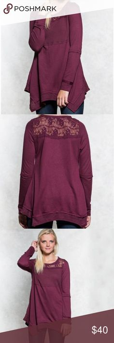 COMING SOON Hanky Hem Fleece This fashion fleece features lace insets with hanky hem and raw edge trim. Fits with scoop neck, ribbed chest and long sleeves.?  Self: 60% Rayon, 40% Polyester Contrast A: 50% Polyester, 38% Cotton, 12% Rayon Contrast B: 57% Cotton, 43% Nylon, Exclusive of decoration Tops Tees - Long Sleeve