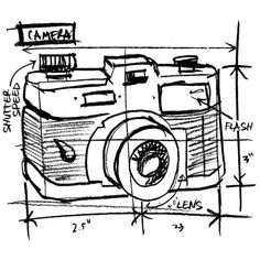 Camera Sketch Tim Holtz Wood Mounted Red Rubber Stamp