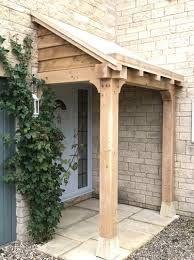 Made in Oak, Oak Framed Porches Cottage Front Doors, Front Door Porch, Cottage Porch, Front Porch Design, Side Porch, Porch Oak, Back Door Canopy, Porch Canopy, Diy Door Canopy