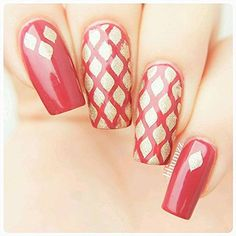 Whats Up Nails - Fishnet Nail Stencils Stickers Vinyls for Nail Art Design (1 Sheet, 12 Stencils) : Beauty
