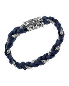 Dark Blue Leather & Sterling Silver Bracelet - John Hardy