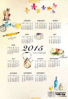Use watercolor to paint 2015 calender