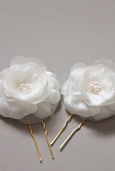 JASMINE silk flower hair pins bridal hair flowers by percyhandmade #etsy