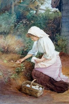 Charles Edward Wilson - Collecting Eggs ca_ 1900 Great Paintings, Beautiful Paintings, Charles Edward, Beautiful Girl Drawing, Creation Photo, Cottage Art, Victorian Art, Pictures To Draw, Portrait Art