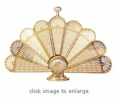 Polished Brass Shell Fan Fireplace Screen