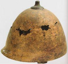Montefortino helmet of Robinson's type D, 2nd-1st century B.C. 15,6 cm high. Found in Sisak, Croatia Arheološki muzej u Zagrebu