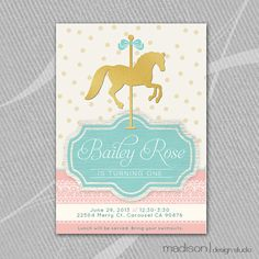 CAROUSEL HORSE Invitation Printable // Gold by MadisonDesignShop, $18.00