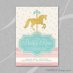 CAROUSEL HORSE Invitation Printable // Gold by MadisonDesignShop, $18.00