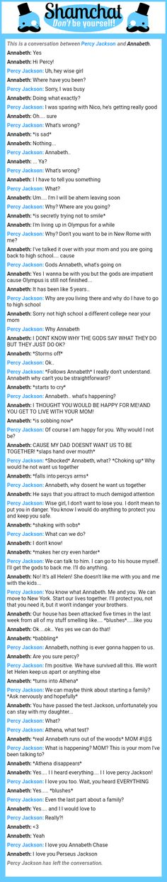 A conversation between Annabeth and Percy Jackson