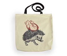 Tote Bag hedgehog sketch anatomic heart fairtrade by YapokBags