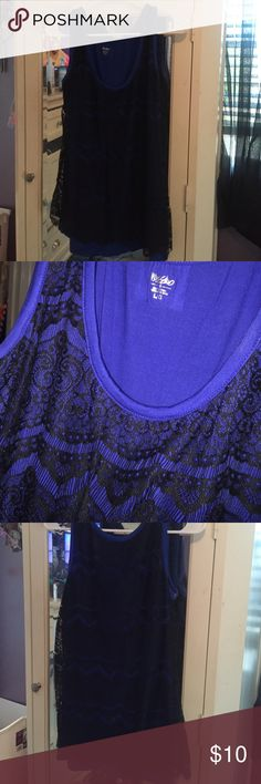 Blue and black dressy tank top. Brand new! Still had tags! Blue and black. Cute design. Size large Mossimo Supply Co Tops Tank Tops