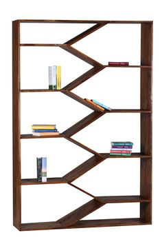 Design Sheesham Massivholz Bücherregal 120 x 30 x 180 cm (B/T/H)