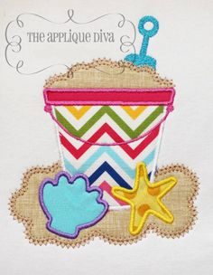 Summer Beach Sand Pail with Shells I would have do do more girly colors and prints but I love the design.