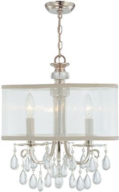 Vintage Clear Crystal Chandelier > $330.00 Drum Shade, Three Lights - http://ynueco.net/vintage-clear-crystal-chandelier-330-00-drum-shade-three-lights/