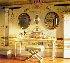 Interior designer inspired by all manner of design, decoration, art and architecture. Decor, Enchanted Home, Elle Decor, Tuscan, Glamorous Bathroom, Painted Vanity, Beautiful Interiors, Home Decor, Luxury House Designs