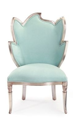 Luxury French Designer Aqua Silver Leaf Chair, so elegant, inspire your friends and followers interested in luxury interior design, with new trending furniture, home decor and accessories, from Hollywood. Inc Bedroom &amp