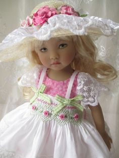 "Little Darling Dianna Effner Doll Outfit Smocked 13"" Decidedly Romantic Pinafore #ClothingAccessories"