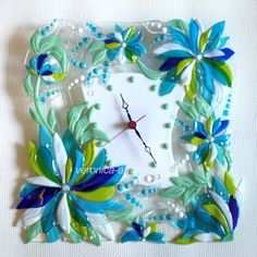 Fused glass wall clock TURQUOISE SPRING   Fused glass - fusing