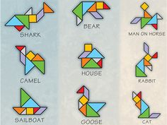 A tangram is a puzzle consisting of seven pieces that can be recombined into many different shapes and figures. Math Games, Toddler Activities, Activities For Kids, Puzzles For Kids, Worksheets For Kids, Tangram Printable, Make Your Own Game, Art For Kids, Crafts For Kids