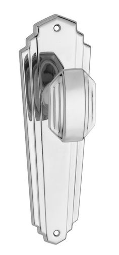 These Art Deco door handles from Tradco Hardware are made of solid brass, plated in chrome, and polished to a high shine. Chrome Door Handles, Knobs And Handles, Art Nouveau, Interior Door Knobs, Art Deco Door, Knobs And Knockers, Traditional Doors, Door Furniture, Art Deco