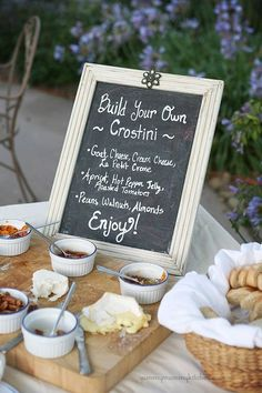 Note the listing of toppings to 'build' your crostini... then the basket, the soufflé cups, the serving board offering up all the choices .... Enticed?