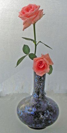 Cloisonné-Vase, geschliffen, ca 30 cm hoch, China 1990