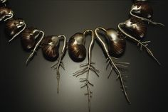 Vina Rust  Sprout (detail), 2004  Sterling and fine silver, copper, gold leaf, liver of sulfur patina 28.5 cm x 23 cm x 1.5 cm roller-printed, hydraulically die-formed, hand forged, electroformed, hand-fabricated, gilded