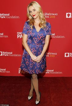 Reese Witherspoon rocks candy cane dress for Christmas Tree Lighting in Washington DC | Daily Mail Online