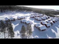 Santa Claus Holiday Village in Rovaniemi in Finnish Lapland. The resort is located in the Santa Claus Village and crossed by the arctic circle line. Video: www.santatelevision.com