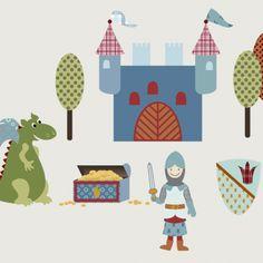 Dieses aufwendig gestaltete Wandtattoo ist ein Blickfang in jedem Jungenzimmer und erzählt die Geschichte vom kleinen Ritter, der mit Hilfe seines großen Freundes, dem freundlichen Drachen, seine...
