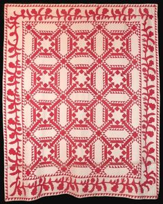 Wild Goose Chase variation with Floral Border, c. Signed by Amanda M. From the Quilts, Inc. Old Quilts, Antique Quilts, Vintage Quilts, Amish Quilts, Quilting Projects, Quilting Designs, Two Color Quilts, Red And White Quilts, Traditional Quilts