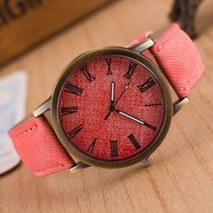 Classic Denim Strap Roman Number Watch