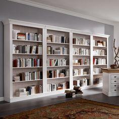Bücherregal Bergen - Kiefer massiv - Weiß Living Room Built Ins, Living Room Bookcase, Green Front Doors, Study Room Design, Book Racks, Home Art, Bookshelves, Sweet Home, New Homes