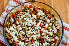 Heartier version of a classic Greek salad with red peppers, feta cheese, tomatoes, onions, and lentils instead of lettuce.