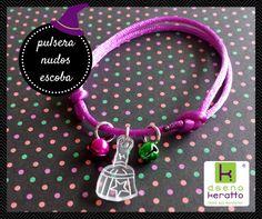 pulsera con escoba de bruja y cascabeles bracelet with witch broom and bells