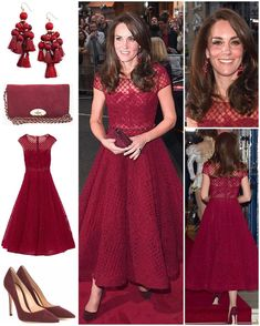 The Duchess of Cambridge opted for a new label to attend the opening of the musical '42nd Street' this evening. The 'Embellished Tulle Midi Dress' is by Marchesa Notte. The honeycomb design dress features a 50's silhouette with cap sleeves and a rhinestone belt.