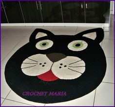croche Gato Crochet, Crochet Mat, Crochet Carpet, Crochet Home, Crochet Crafts, Crochet Projects, Tapetes Diy, Animal Rug, Knit Rug