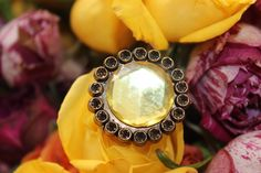 Under the Tuscan Sun Yellow Floral Flower Button Recycled Vintage Adjustable Ring. $5.00, via Etsy.
