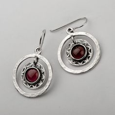 Sale! 8mm Round Cabs 925 Sterling Silver Earrings With Garnet Stone