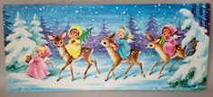 Adorable Angels Deer Snowing Pink Yellow 1950's Vintage Christmas Greeting Card | Collectibles, Paper, Vintage Greeting Cards | eBay!