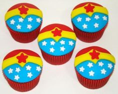 """""""Cupcakes of Wonder Woman"""". Well, if I can't get a cool Wondy b-day cake, I might be able to swing these, LOL!"""