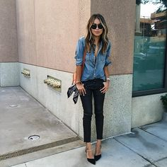 Denim on Denim With Your Go-To Pumps