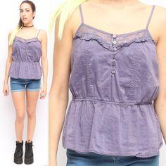 Kirra Lavender Purple Boho Silk Cotton Ruffle Lace Trim Button Up Summer Tank | eBay