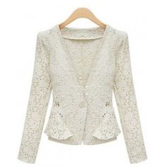 Indressme | V-neck One Button Lace White Blazer style 0303081 only $35.00 .