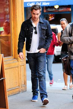 Denim on jeans ...Hell Chris Pine's taste is the same like Karl.. both fabulously effortlessly stylish