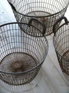 Vintage French Soul ~ Vintage Industrial Wire Storage Baskets by OrmstonSaintUK on Etsy, Im so getting me some of these to store yarn in! Industrial Storage, Industrial Interiors, Rustic Industrial, Kitchen Industrial, Industrial Design, Wire Basket Storage, Wire Storage, Fabric Storage, Wire Laundry Basket